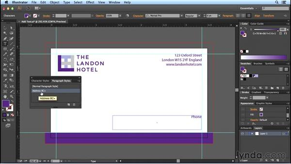 Adding text styles: Designing Templates with Illustrator