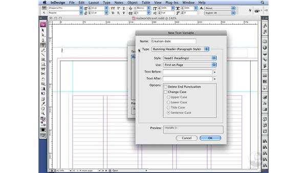 Working with text variables: InDesign CS3 Long Documents