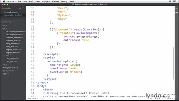 The Autocomplete control: Up and Running with jQuery UI