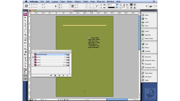 Adding a table of contents: InDesign CS3 Long Documents