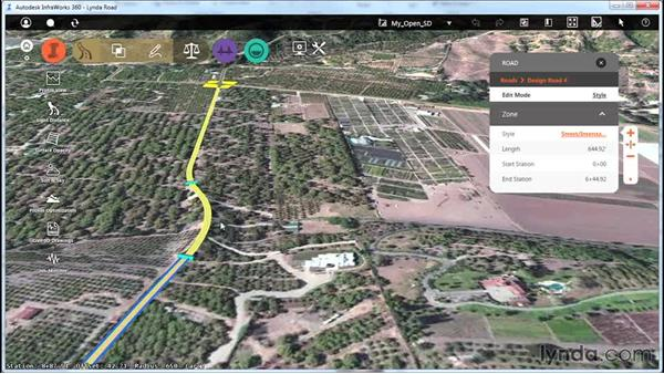 Analyzing open-road site distance: Up and Running with Roadway Design for InfraWorks 360