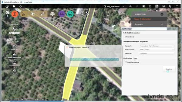 Analyzing intersection site distance: Up and Running with Roadway Design for InfraWorks 360