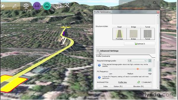 Profile optimization: Up and Running with Roadway Design for InfraWorks 360