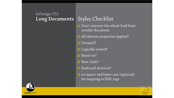 Planning and managing styles: InDesign CS3 Long Documents