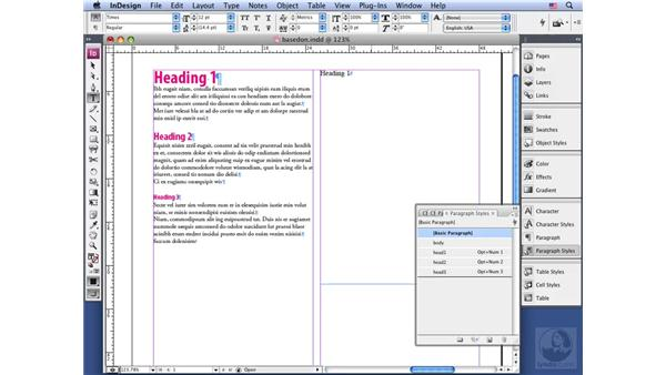Creating a style based on another: InDesign CS3 Long Documents