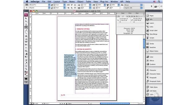 Working with the Info palette: InDesign CS3 Long Documents