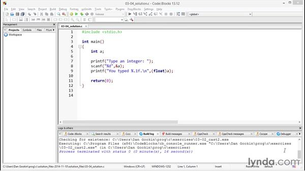 Solution: Specifying a cast: Further Topics in C Programming