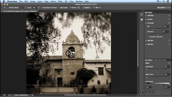Creating a tilt-shift-focus effect: Creating Distressed and Vintage Photo Effects with Photoshop