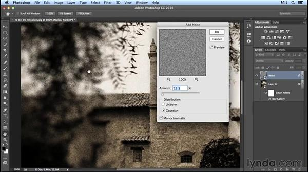 Adding noise after a blur effect: Creating Distressed and Vintage Photo Effects with Photoshop