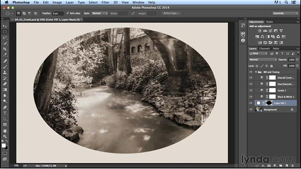 Creating uneven light through vignetting: Creating Distressed and Vintage Photo Effects with Photoshop