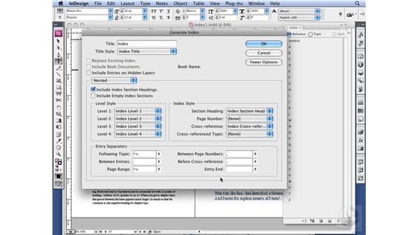 Generating an index: InDesign CS3 Long Documents
