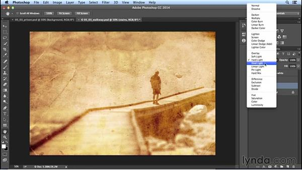 Using blend modes to combine textures and images: Creating Distressed and Vintage Photo Effects with Photoshop