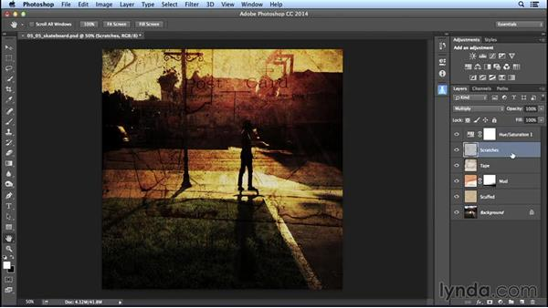 Creating composite layers from multiple blend-mode effects: Creating Distressed and Vintage Photo Effects with Photoshop
