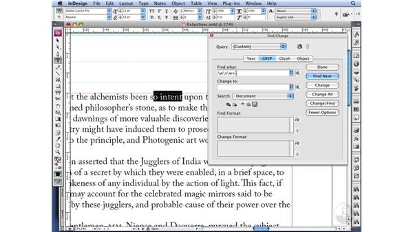 Using GREP to fix last lines: InDesign CS3 Long Documents