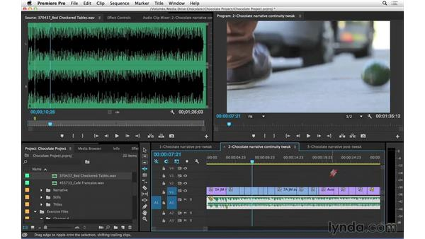 Refining the scene: Trimming and matching to music: Introduction to Video Editing