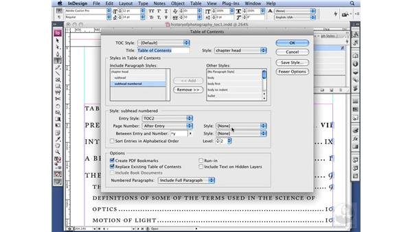 Styling a table of contents: InDesign CS3 Long Documents