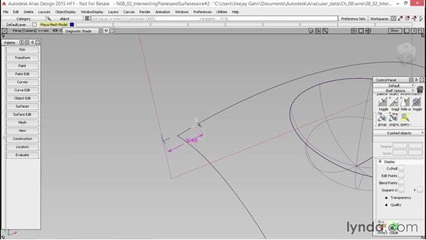 Intersecting planes and surfaces: Alias Essential Training