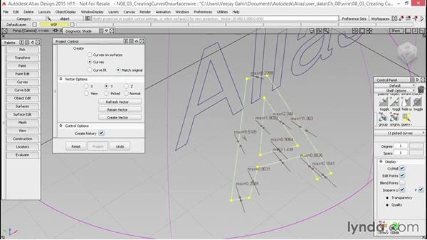 Create curves on a surface: Alias Essential Training