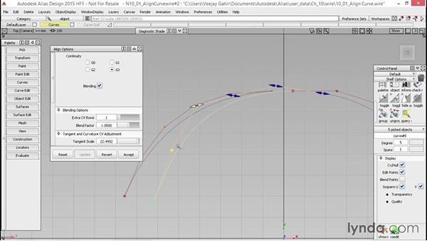 Aligning curves: Alias Essential Training