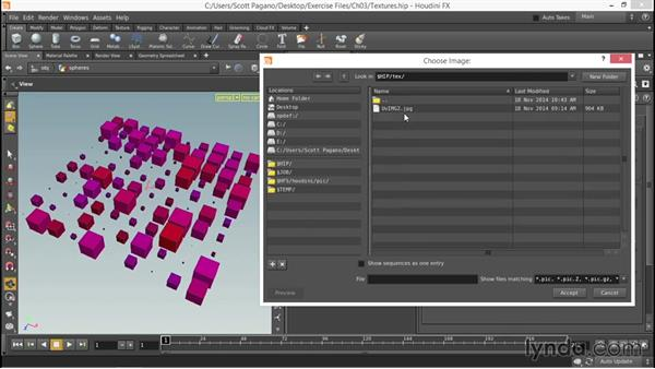 Adding texture maps to the shader: Up and Running with Houdini