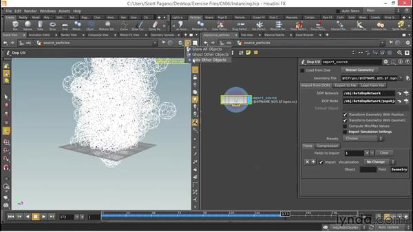 How to instance geometry to particles: Up and Running with Houdini