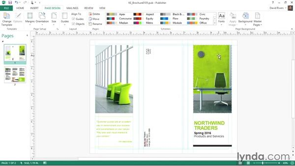 Adjusting page and print setup options: Publisher 2013 Essential Training