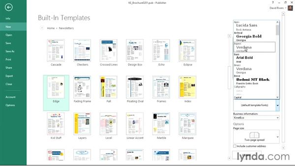 Using built-in templates: Publisher 2013 Essential Training