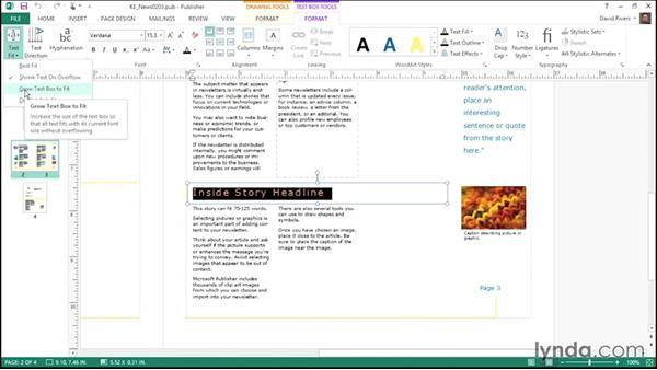 Using AutoFit: Publisher 2013 Essential Training