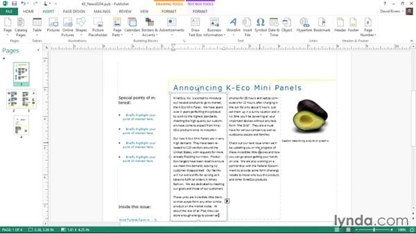Inserting text from another file: Publisher 2013 Essential Training