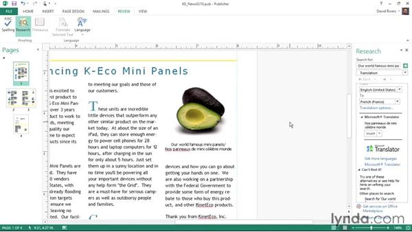 Translating text: Publisher 2013 Essential Training