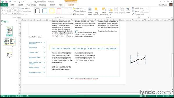 Drawing and customizing shapes: Publisher 2013 Essential Training