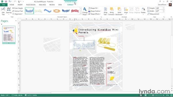 Using WordArt: Publisher 2013 Essential Training