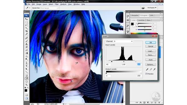 Favoring yellow to balance skin tones: Photoshop CS3 Mastering Lab Color