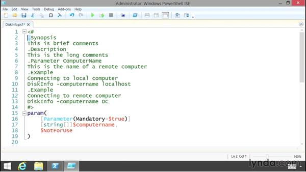 Using comment-based help: Up and Running with PowerShell 5