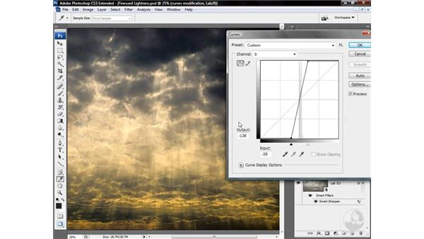 Applying Curves to the a and b channels: Photoshop CS3 Mastering Lab Color