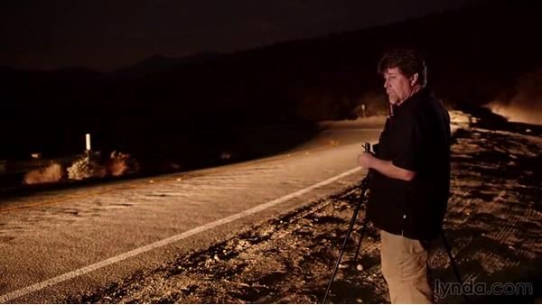 Light painting using roads and passing cars: Photographing the Night Landscape