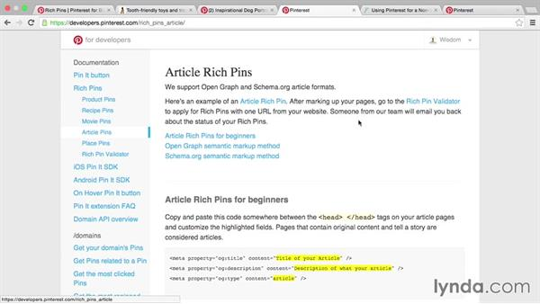 Article Rich Pins: Pinterest for Business