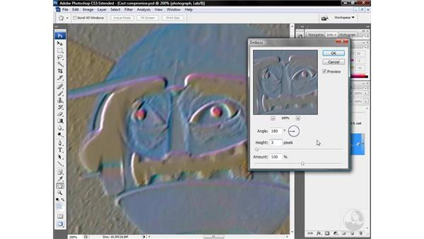 Sharpening an image with the Emboss command: Photoshop CS3 Mastering Lab Color