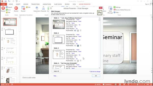 Editing presentation settings: Up and Running with Adobe Presenter 10