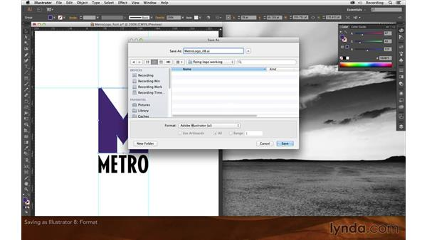 Saving as an Illustrator 8 file: Creating Flying Logos with After Effects and CINEMA 4D Lite
