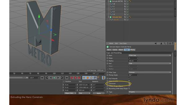 Extruding the hero object: Creating Flying Logos with After Effects and CINEMA 4D Lite