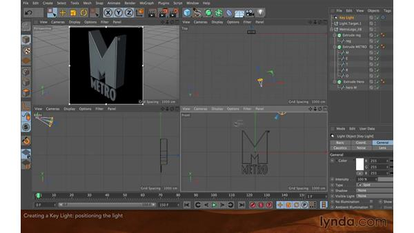 Creating a key light: Creating Flying Logos with After Effects and CINEMA 4D Lite