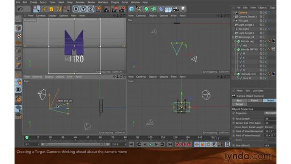 Creating a target camera: Creating Flying Logos with After Effects and CINEMA 4D Lite