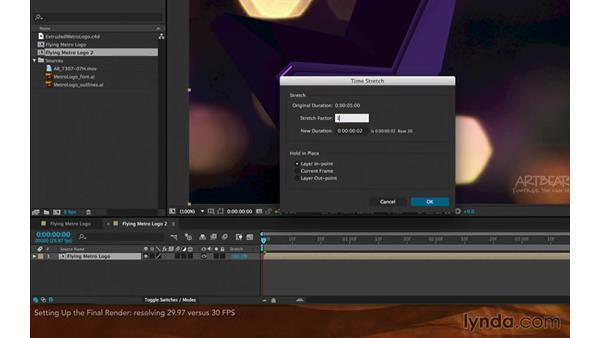 Setting up the final render: Creating Flying Logos with After Effects and CINEMA 4D Lite