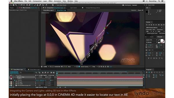 Integrating the camera and lights: Creating Flying Logos with After Effects and CINEMA 4D Lite