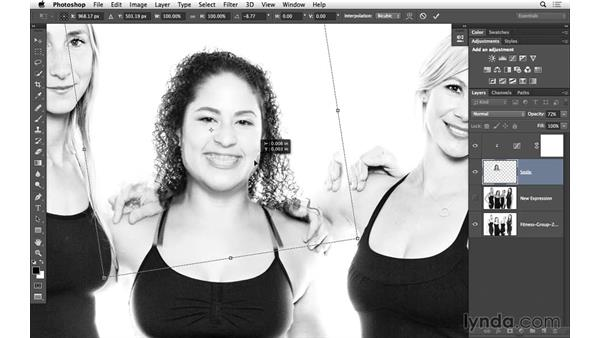 Changing size and position with Free Transform: Portrait Project: Fixing a Group Photo