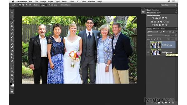 Opening two images in a single Photoshop document: Portrait Project: Fixing a Group Photo