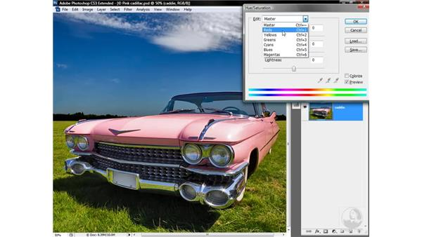 Rotating hues in RGB with Hue/Saturation: Photoshop CS3 Mastering Lab Color