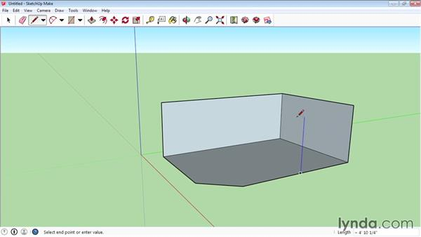 Using the Line tool for 3D drawing: SketchUp 2015 Essential Training