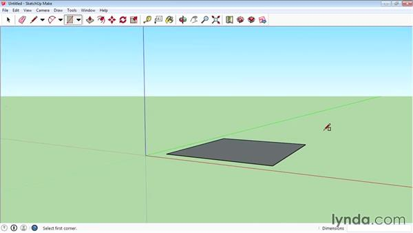 Using the Rectangle tool: SketchUp 2015 Essential Training